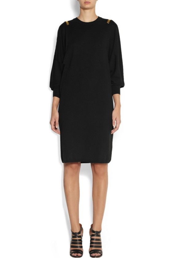 1.GIVENCHY Black wool sweater dress with gold bars £752.50