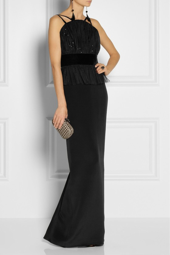 20. NOTTE BY MARCHESA Sequined tulle and silk-crepe peplum gown £756.87