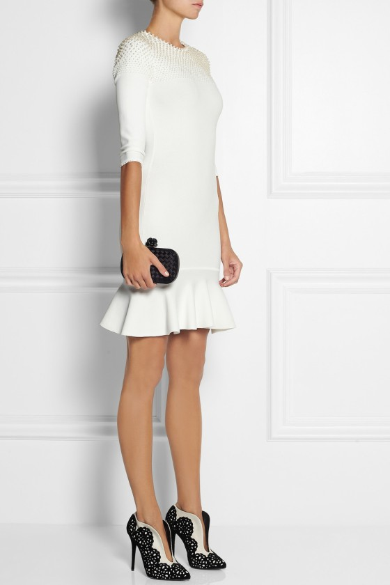 25. ALEXANDER MCQUEEN Faux pearl-embellished knitted dress £1,548.75