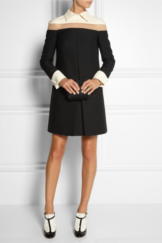 4.VALENTINO Tulle-paneled wool and silk-blend dress £1,483.12